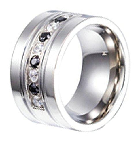 Adisaer Edelstahlring Ring Damen Retro Poliert Schwarz Weiß Zirkonia Ringe Silber Schwarz Größe 60 (19.1)