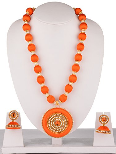 MDS Silk Thread Necklace with DOUBLE SIDE Dollar and JHUMKA Earrings Jewellery set for Beautiful Women (MDS-1010) (Orange)