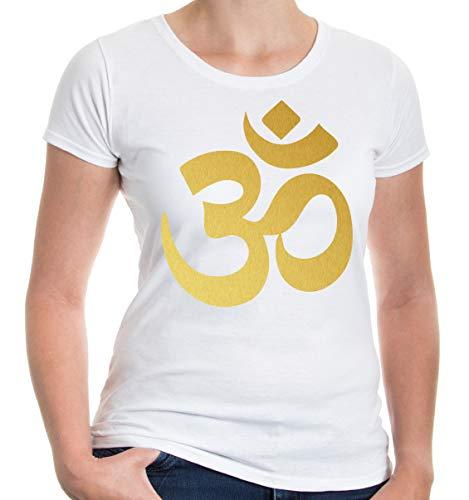 buXsbaum Damen Girlie T-Shirt Om Zeichen | Indien Meditation Hinduismus Aum | S, Weiß
