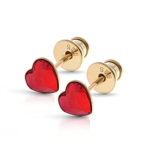 18ct Gold Finish 925 Sterling Silver Stud Earrings with Genuine Red Heart Swarovski Crystals - Ideal Stylish Gift for Women & Girls In A Gift Box – Impress With Your