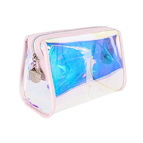 FRF Kosmetiktasche- Bunte holographische transparente Kosmetiktasche tragbare weibliche große Kapazität einfache wasserdichte Waschbeutel (Color : Rainbow, Size : 18x10x12cm)