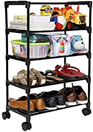 Happer Premium 5-Tiers Shoe Rack/Multipurpose Storage Rack with 4 Caster Wheels, Classic (Black & Sil
