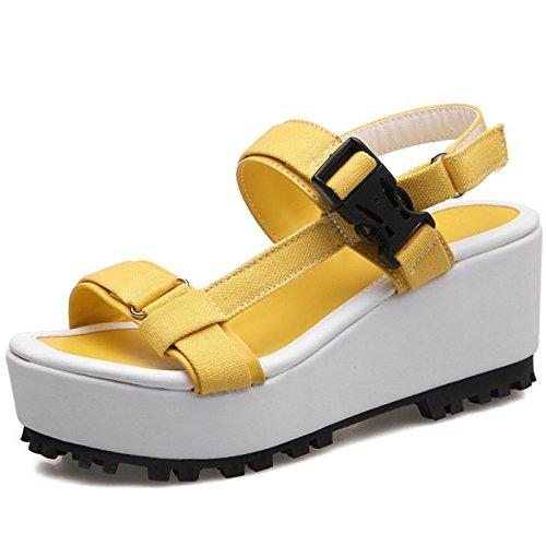 RizaBina Femmes Mode Bout Ouvert Sandales Compensees Plateforme Slingback Ete Chaussures 785 Jaune