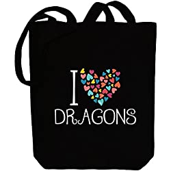 Idakoos I love Dragons colorful hearts - Fantasía y Mounstruos - Bolsa de Lona