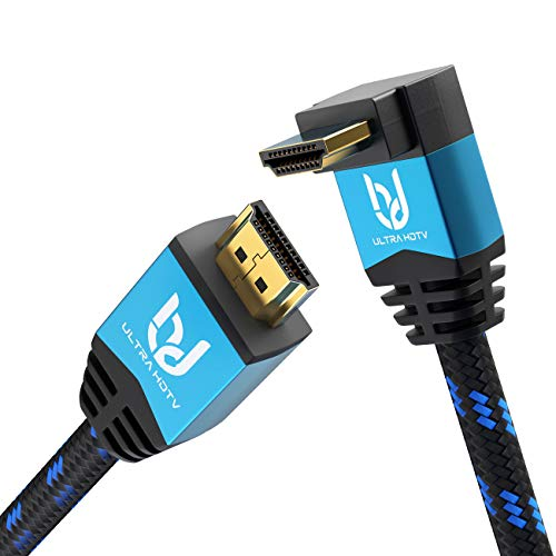 Ultra HDTV Premium 4K HDMI Kabel 10m mit 1x 90°-Winkel/HDMI 2.0b, 4K bei vollen 60Hz (Keine Ruckler), HDR, 3D