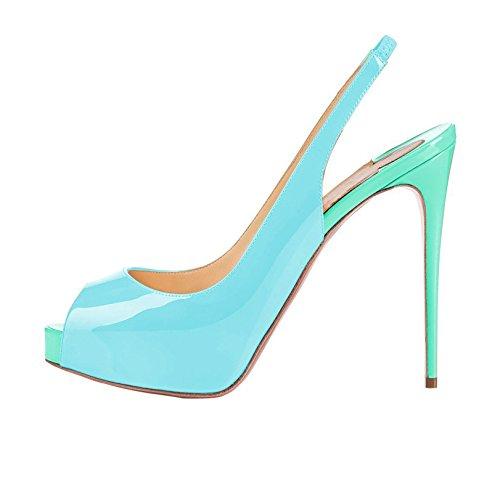 Arc-en-Ciel Damenschuhe Plattform-Absatz Peep Toe leichte Rücken Sandalen Blue
