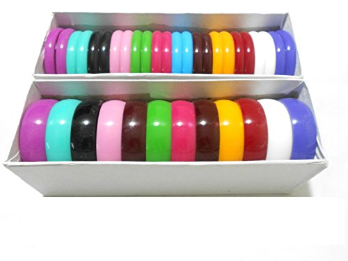 Multicolors Thick kada plastic Bangles set with 2 full boxes bangles - size 2.4 medium