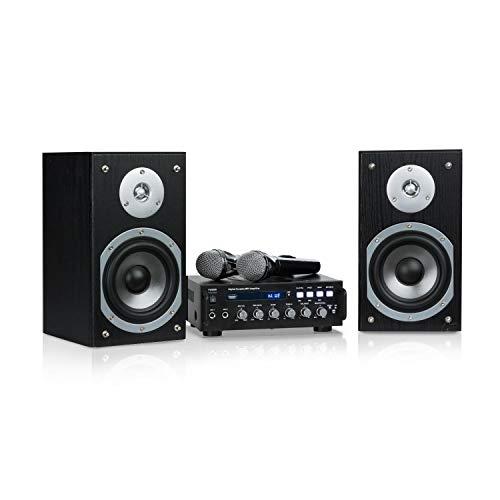 auna Karaoke Star 3 Karaoke-Set • Karaoke-System • Karaoke-Anlage • 2 x 75 W max. • Bluetooth • USB • Line-In • inkl. Mikrofone und Lautsprecherkabel • schwarz