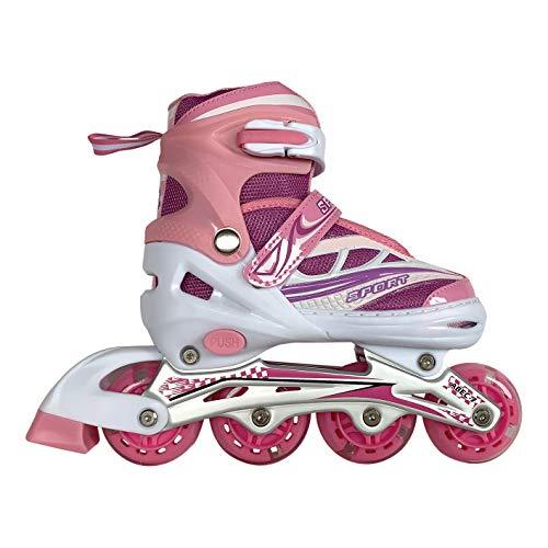 Tante Tina Kinderinliner größenverstellbar mit leuchtenden Rollen - Inlineskates für Kinder verstellbar in 4 Größen - Pink - Größe S (31-34)