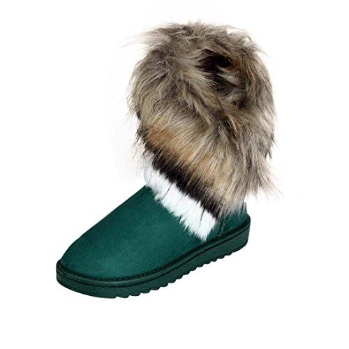 Damen Stiefel,Amlaiworld Fashion Stiefel flache Ankle Pelz gefüttert Warm Winter Schneeschuhe (40, Blau) (Loafers Baumwolle)