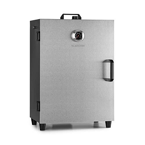 Klarstein Flintstone Four à fumer en acier - 1600W, thermostat réglable, thermomètre intégré, 3 grilles de fumage, porte en acier, fermeture magnétique, volet de ventilation, acier inoxydable