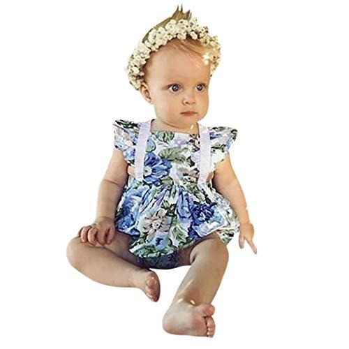 LEXUPE Säuglingsbaby-Blumendruck-Spitze-Rüschen-rückenfreier Bodysuit-Spielanzug + Stirnband(Blau,70)