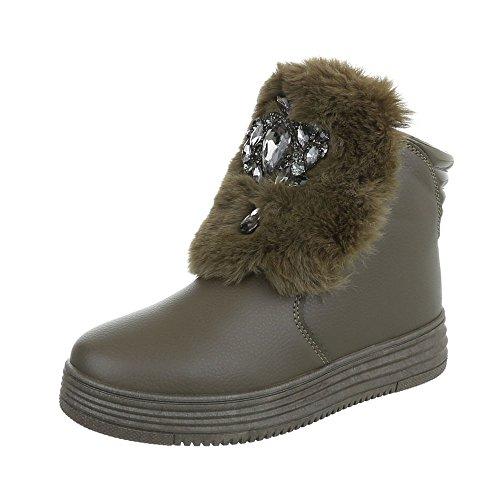 Chaussures femme Bottes et bottines Plat Bottines a plateforme Ital-Design Olive