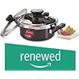 (Renewed) Prestige Clip On Aluminium Pressure Cooker with Glass Lid, 3 Litres, 2-Pieces, Charcoal Black