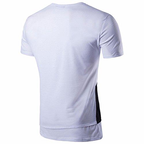 QIYUN.Z Männer Sommer Slim Fit Kurzarm T-Shirt Unregelmäßige Patchwork Farbe T-Shirts Weiß