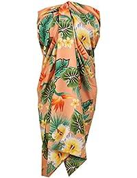 6c906582fb8 Alvish Sarong Flower Leaf Beach Swimsuit Wrap Plus Size Cover up Pareo