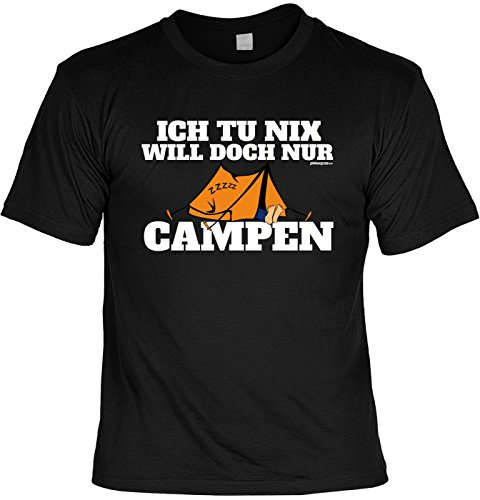 Premium Herren Shirt Camping T-Shirt Bekleidung Garten - Geschenk zum Geburtstag Weihnachten Papa Schwarz
