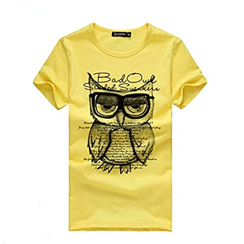 LHWY Herren Men Boy Druck Eule t-Shirts Shirt Short Sleeve Cotton t-shirt Kleidung (XL, Yellow)