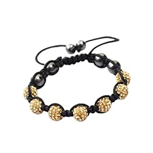 GOLD Crystal Bead SHAMBALLA BRACELET with 9 Iced out Disco ball beads covered in crystals and 4 highly polished Hematite beads.