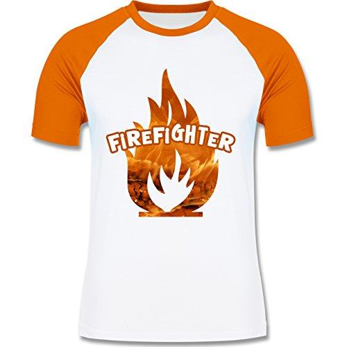 Feuerwehr - Feuer Flammen Firefighter - zweifarbiges Baseballshirt für Männer Weiß/Orange