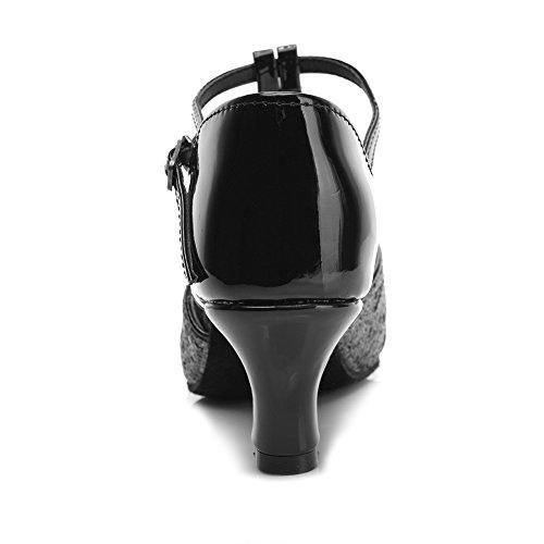 HIPPOSEUS Donna Ballroom Scarpe da ballo /standard Raso latino Scarpe da ballo,Modello-IT259 5CM Nero