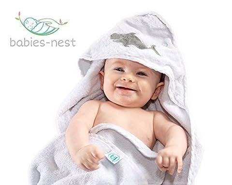 Badetuch mit Kapuze Baby Baumwolle und Bambus Waschlappen Geschenk-Set geeignet für Neugeborene bis Kleinkinder–Extra weich und dick für zusätzlichen Komfort von babies-nest (TM)