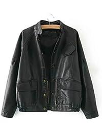 e0b1b111f6 Pteng Casual Fliegerjacke Leder Jacke Damen Stylisch Bomberjacke Frauen  Coat Langarm Winddicht Outwear