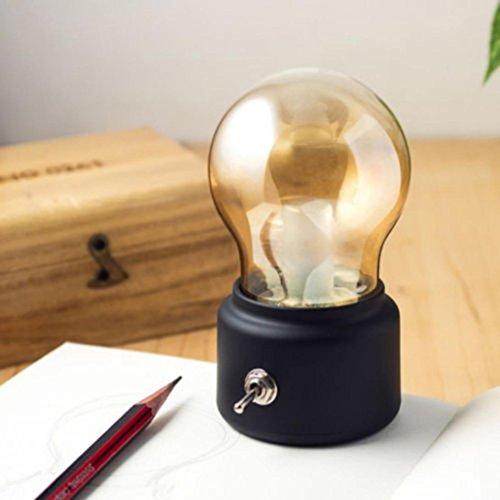 LED-Leuchte von Mamum, kreative Retro-Glühbirne, LED-Nachtlicht, wiederaufladbar über USB, Nachttischlampe Gold/Schwarz, 1 Stück Einheitsgröße Schwarz