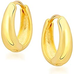 VK Jewels Sweet Kaju Gold Plated Alloy Bali Hoop Earrings For Men And Women- BALI1074G [VKBALI1074G]