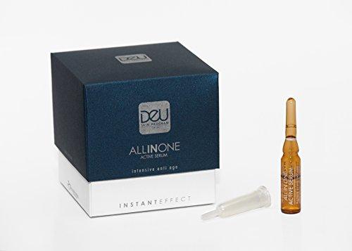 DeU All in One Active - 7 Ampullen Anti-Aging/Anti-Falten Serum - Hyaluronsäure, Algen-Extrakt, Vitamin C, Ginseng u. Kamille reduzieren Falten u. Fältchen, verleihen der Haut jugendliches Aussehen