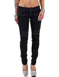 Cipo & Baxx Damen Jeans Hose Kontrastnaht Slim-Fit Freizeit Streetwear