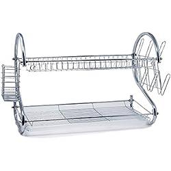 AparkEU Home Porte-Vaisselle Étagère à Vaisselle 2 Étages en Acier Inoxydable Égouttoir Couverts Étagère de Rangement Cuisine - 37 x 43 x 25 cm