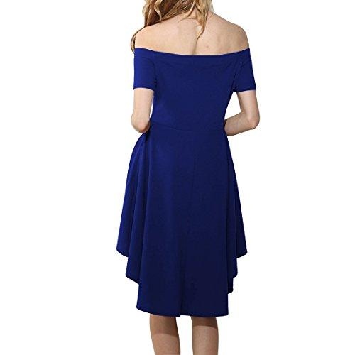 Shinekoo Femmes Hors d'épaule Irrégulière Manches Courtes Robe De Cocktail Patineuse Robe Bleu