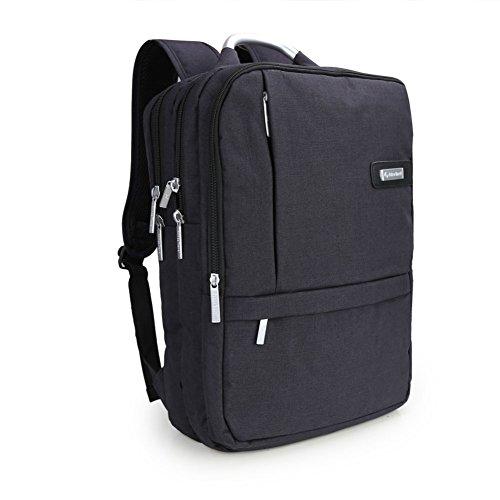 """Impermeabile antiurto e leggero tessuto di Oxford 15.6 """"Borsa zaino del computer portatile /Messenger Bag Tablet Cartella zaino per la scuola (Nero)"""