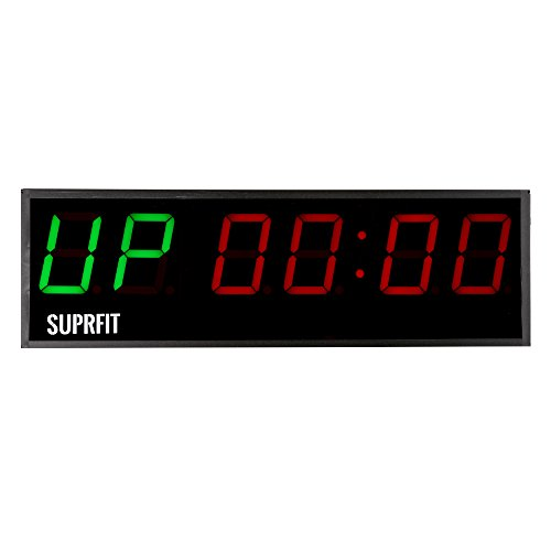 Suprfit Osrun Intervall Timer I Sporttimer I Fitness Timer I LED Display I sechs große Ziffern I 5 Zeit-Modi I 12 Speicherplätze i inkl. Fernbedienung I Signalton I zur Wandmontage geeignet