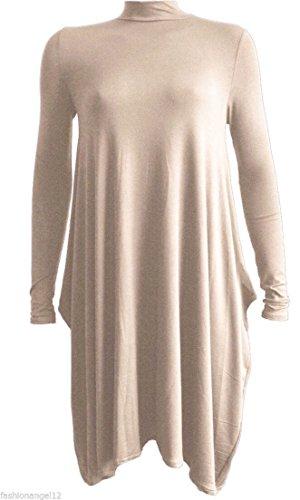 Fashion 4Less - Abito svasato corto da donna, con orlo a fazzoletto e collo alto, misure da 40 a 46 Mocha