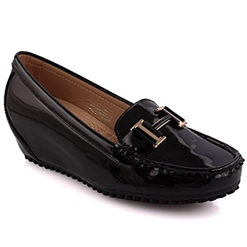 Unze New Women Archetypal Metal Detail Office Work School Casual Moccasin Pumps Flat Shoes - Black - 7