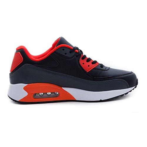Trendige Unisex Damen Kinder Herren Laufschuhe Schnür Sneaker Sport Fitness Turnschuhe Schwarz/Weiß/Orange
