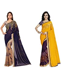 Anand Sarees Women's Faux Georgette Multi Color Printed Combo Saree With Blouse Piece (1108_1_1190_2 )
