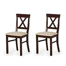 Marchio Amazon - Alkove - Hayes - Set da 2 sedie in legno massello con seduta imbottita, modello Luka, in faggio laccato