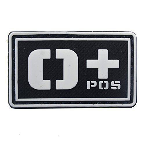 Aesy Luminous Blood Type Patch Tactical Morale Patch Hook Loop Army Badge PVC Patch Appliques