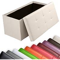 Miadomodo Sgabello contenitore pouf cassapanca poggiapiedi pieghevole imbottito 85 x 40 x 40 cm colore beige