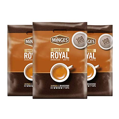 Minges Dark Roast Megabeutel, 108 Pads 3er Pack