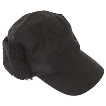 FLOSO® Mens Plain Peaked Thermal Trapper Hat (M/L) (Black)