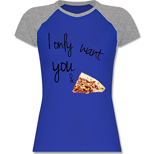 Statement Shirts - I only want you and pizza - zweifarbiges Baseballshirt / Raglan T-Shirt für Damen Royalblau/Grau meliert