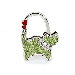 alltree Ladie 's Folding Bag Handtasche Tabelle Haken Kleiderbügel Halter Herz Katze (grün)