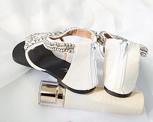 Frauen Bohemia Flach Sandalen Sommer Clip Toe Strand Schuhe Hausschuhe Mit Rhinestone T-Riemen Sandaletten Schuhe Weiß