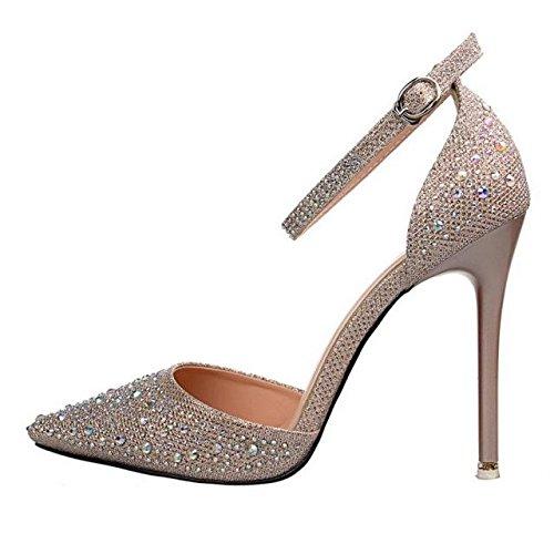 LGK & Fa verano de las mujeres sandalias sandalias de verano para mujer Plata Fashion punta diamante zapatos de tacón alto palabra botones hueca sandalias, 35 gold [10.5CM]