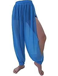 Princesa Jazmín Para Vestido de noche Harén Pantalón Tribal Danza del Vientre Disfraz Pantalón Leggins UK Size 8–18S M L XL (Sky)
