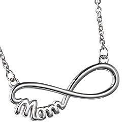Idea Regalo - OIDEA Collana per Donna Collana in Acciaio Inox Pendente Infinito Mom Regalo per Festa della Mamma/Compleanno Argento